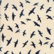 Moda - Ahoy Me Hearties by Janet Clare - 5704 - Navy Blue Birds on Cream - 1431 17 - Cotton Fabric